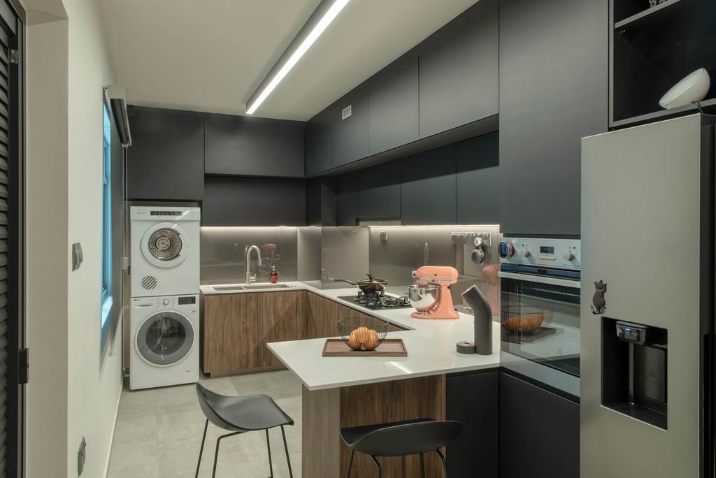 Modern, HDB, Kitchen, Canberra Road, Interior Designer, Dyel Design, Contemporary