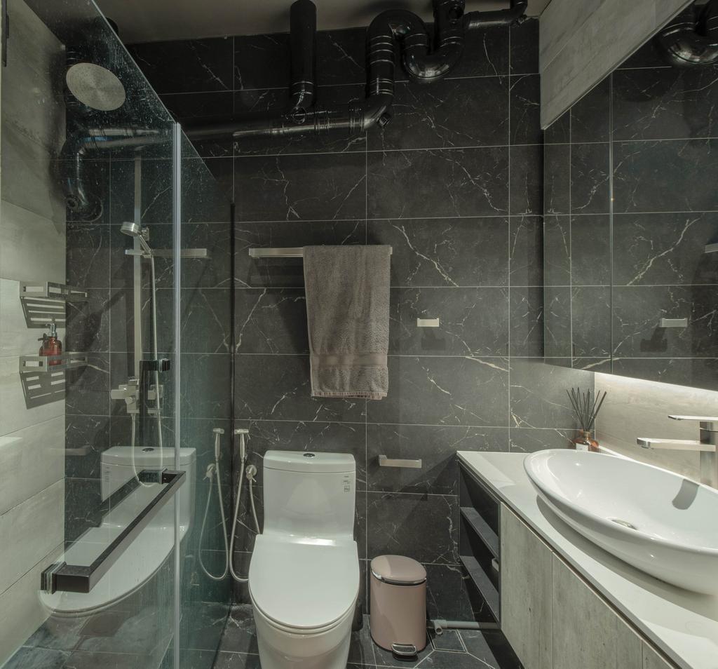 Modern, HDB, Bathroom, Canberra Road, Interior Designer, Dyel Design, Contemporary