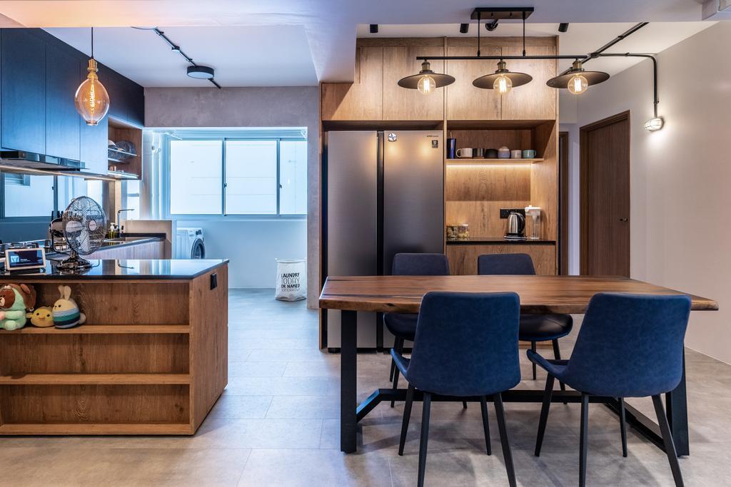 Contemporary, HDB, Dining Room, Northshore Drive, Interior Designer, Luova Project Services
