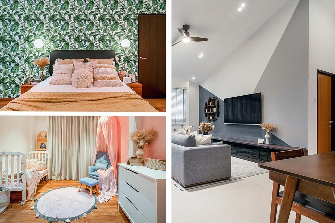 Rare HDB Flat Has 5.5m 'Ski Slope' Roof and IG-Worthy Rooms