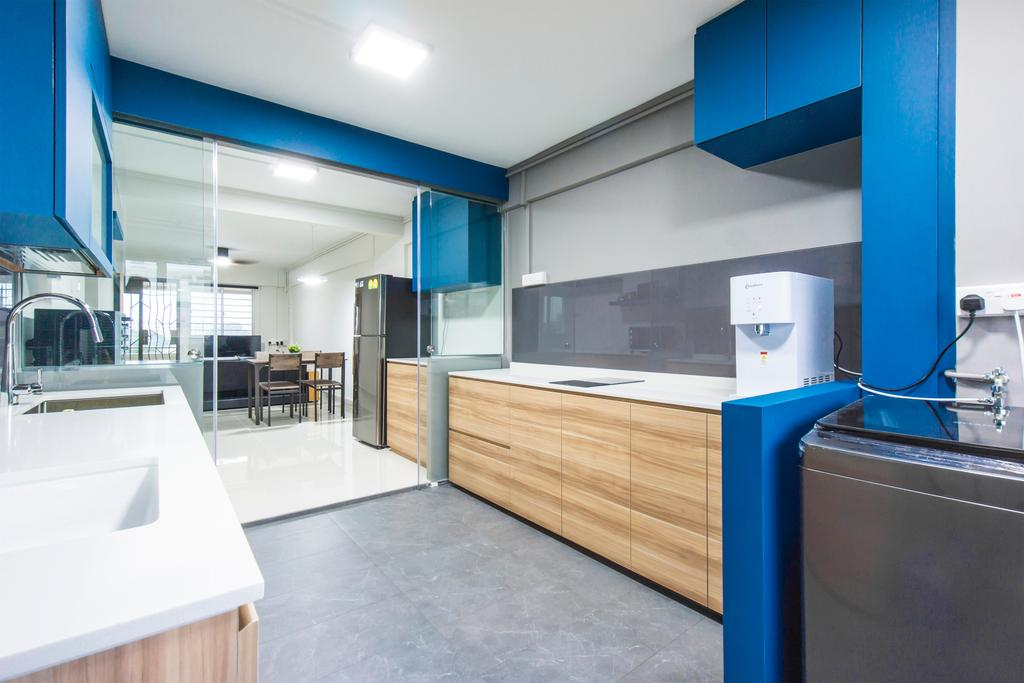 Contemporary, HDB, Kitchen, Ang Mo Kio Avenue 4, Interior Designer, Flo Design