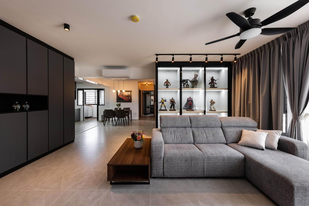 Bukit Batok West Avenue 8, U-Home Interior Design, Contemporary, Living Room, HDB, Open Concept, Open Layout, Collectibles, Display, Figurines