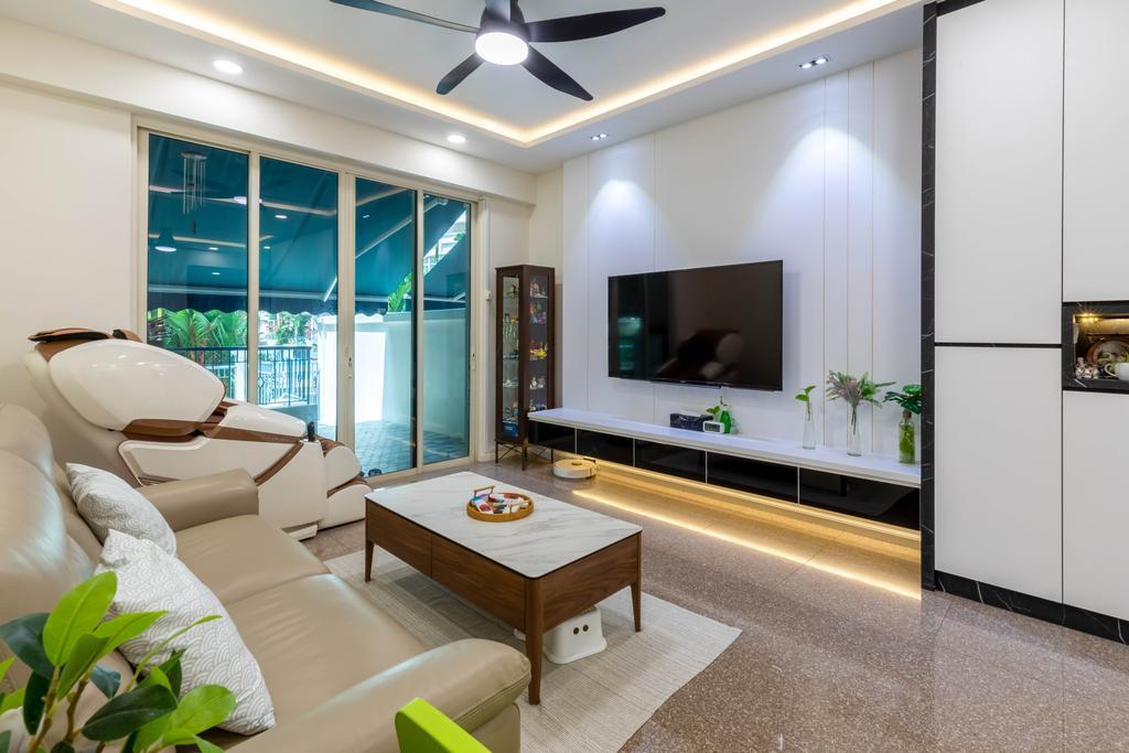 Modern, HDB, Living Room, Rivervale Crest, Interior Designer, Design Identity