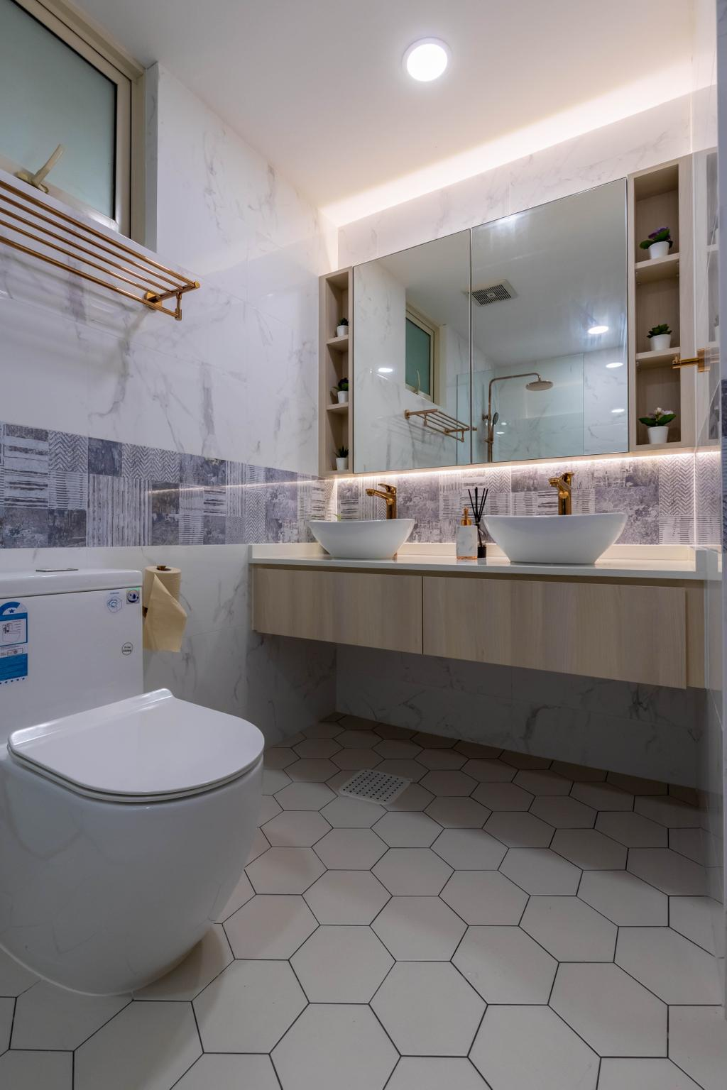 Modern, HDB, Bathroom, Rivervale Crest, Interior Designer, Design Identity