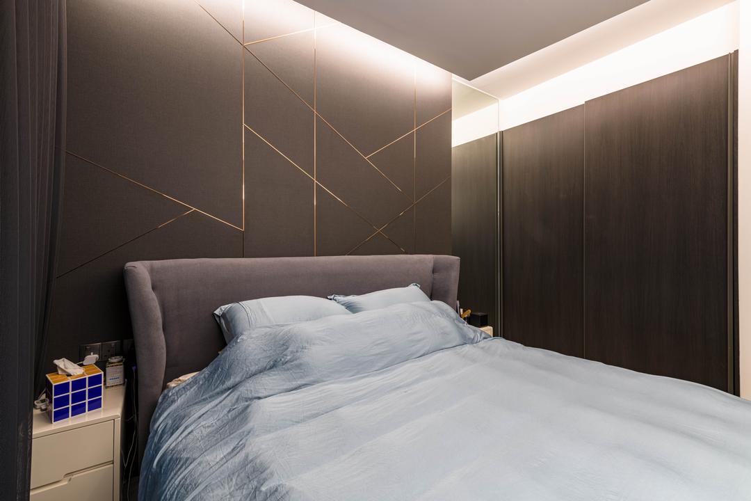 iNz Residence, Orange Interior, Modern, Contemporary, Bedroom, Condo
