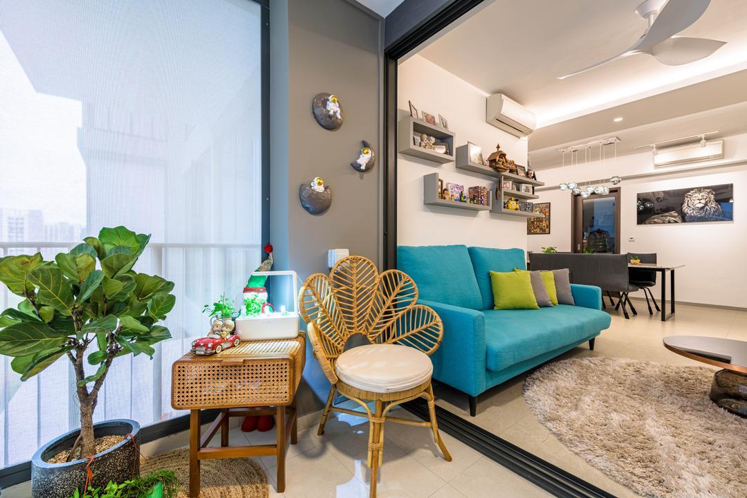 iNz Residence, Orange Interior, Modern, Contemporary, Balcony, Condo