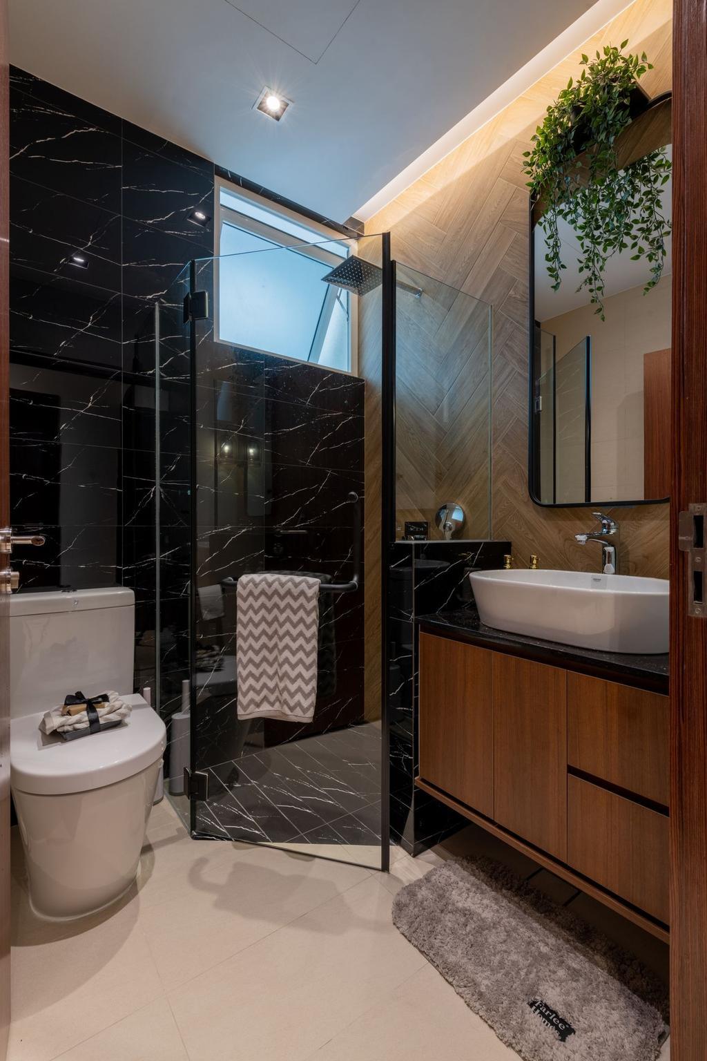 Contemporary, Condo, Bathroom, Blu Coral, Interior Designer, Thom Signature Design