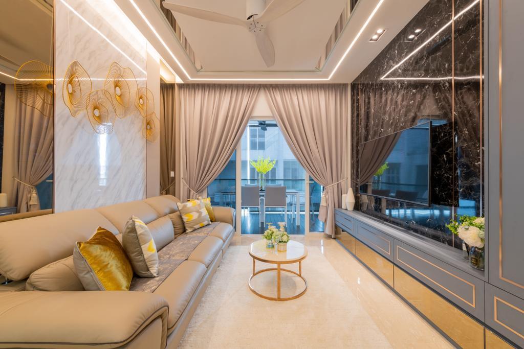 Contemporary, Condo, Living Room, Blu Coral, Interior Designer, Thom Signature Design