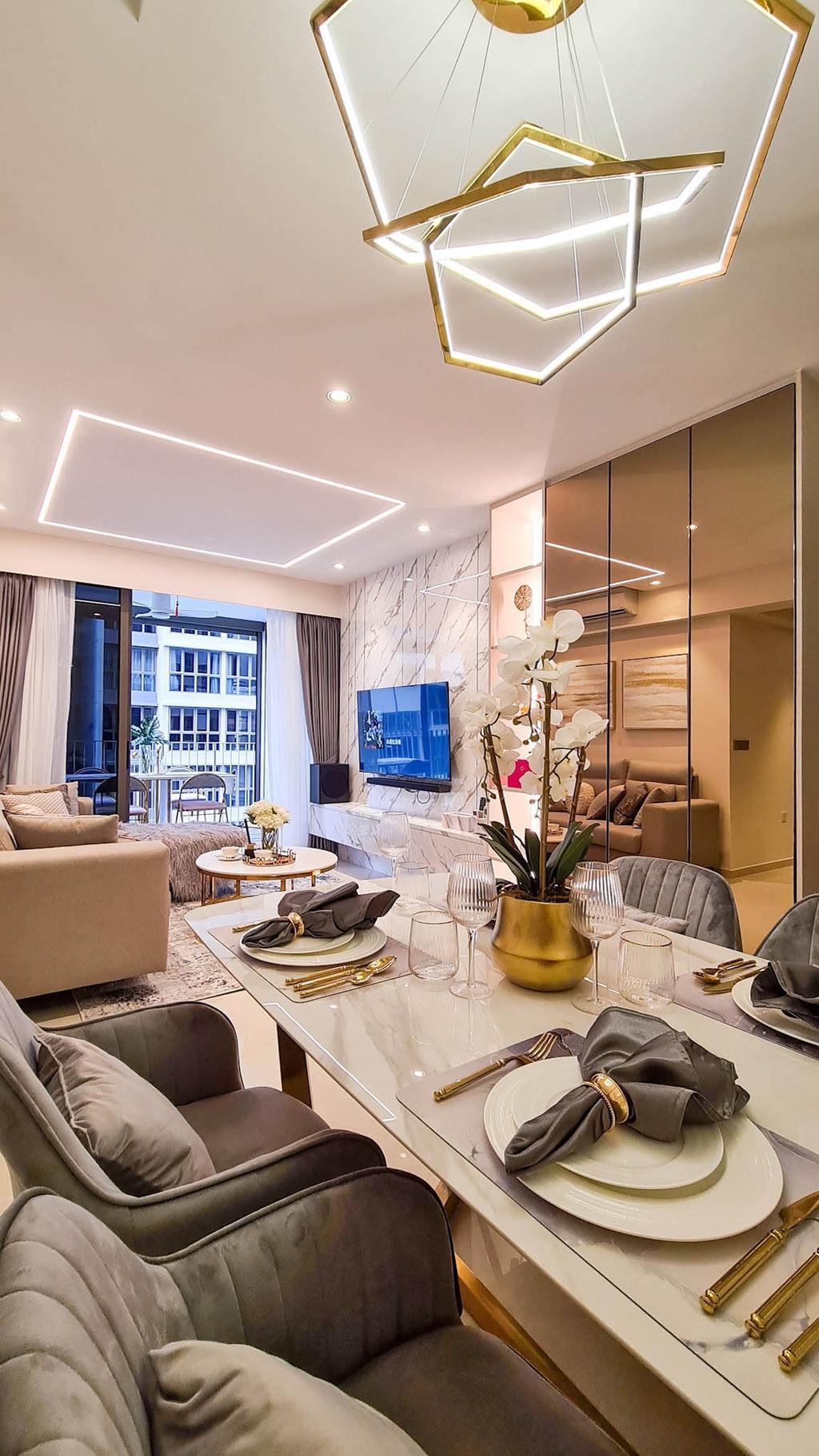Modern, HDB, Dining Room, Rivercove Residences, Interior Designer, Mr Shopper Studio, Contemporary