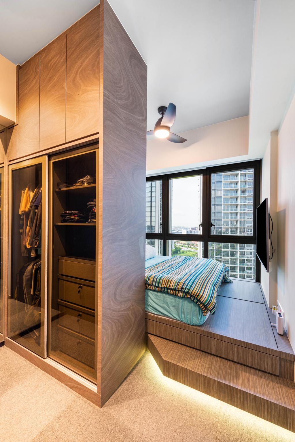Modern, HDB, Bedroom, Parc Riviera, Interior Designer, Mr Designer Studio, Contemporary
