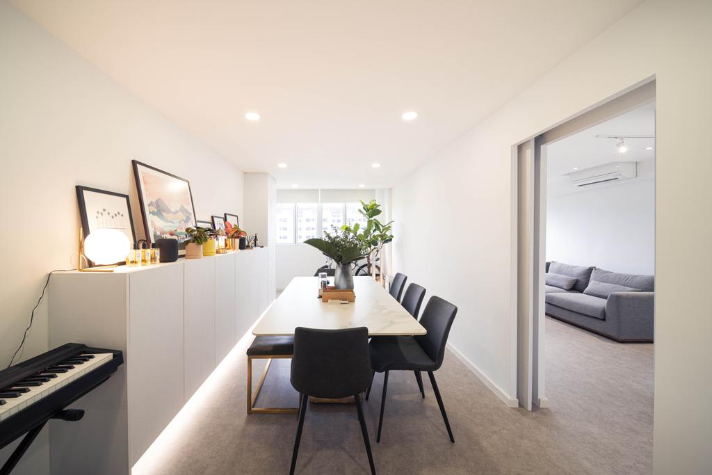 Minimalistic, HDB, Living Room, Ghim Moh Link, Interior Designer, Livinci Interior