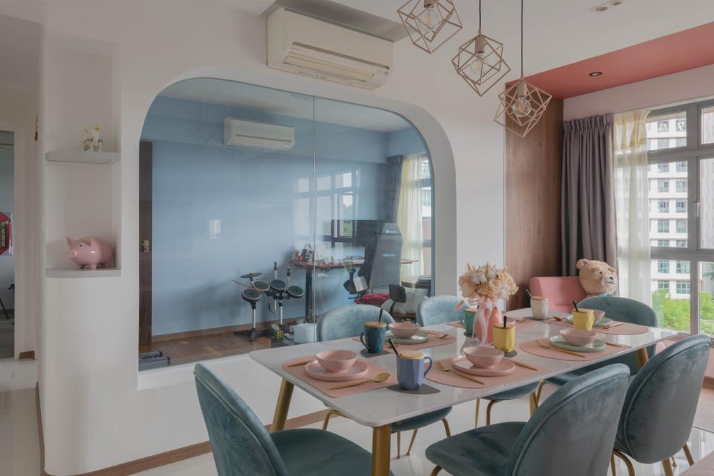Contemporary, HDB, Dining Room, Upper Serangoon View, Interior Designer, Urban Home Design 二本設計家, Eclectic