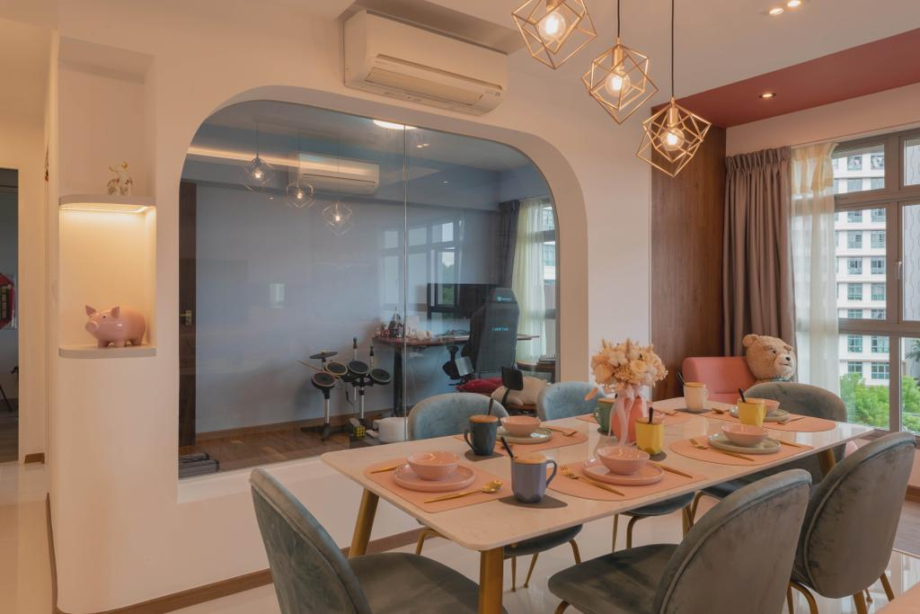 Contemporary, HDB, Dining Room, Upper Serangoon View, Interior Designer, Urban Home Design 二本設計家, Eclectic