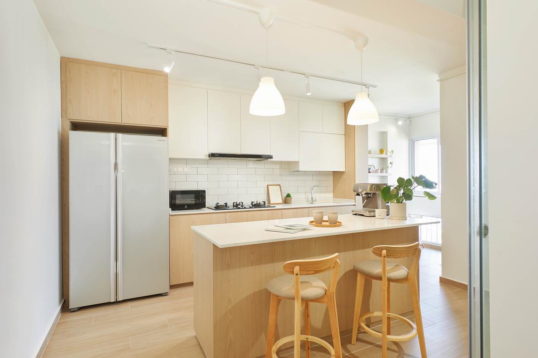 Pasir Ris Street 71, Jubilee Interior, Scandinavian, Kitchen, HDB, Muji, Muji Inspired, White And Wood