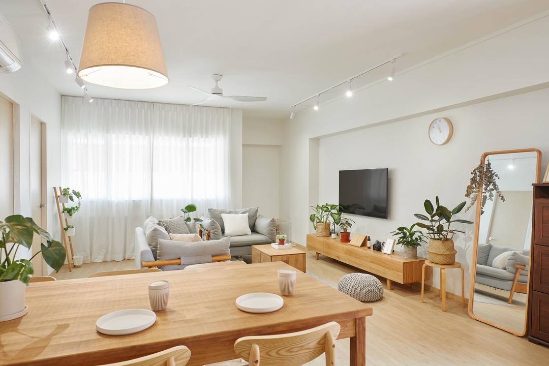 Pasir Ris Street 71, Jubilee Interior, Scandinavian, Living Room, HDB, Muji, Muji Insipred, White And Wood