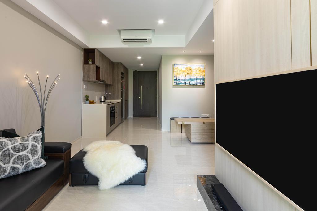 Modern, Condo, Living Room, Forest Woods, Interior Designer, Livspace