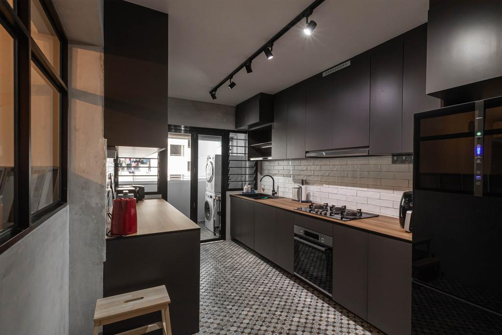 Industrial, HDB, Kitchen, Sumang Link, Interior Designer, Swiss Interior Design
