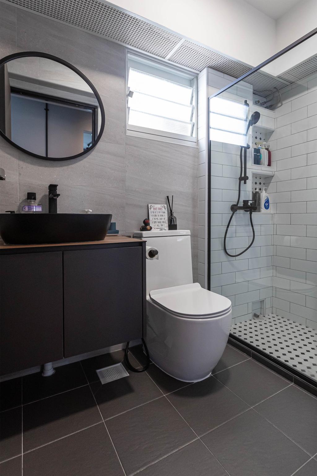 Industrial, HDB, Bathroom, Sumang Link, Interior Designer, Swiss Interior Design
