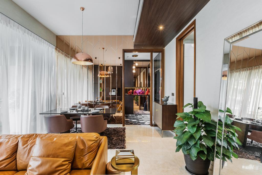 Contemporary, HDB, Dining Room, One Balmoral, Interior Designer, Earth Interior Design Pte Ltd