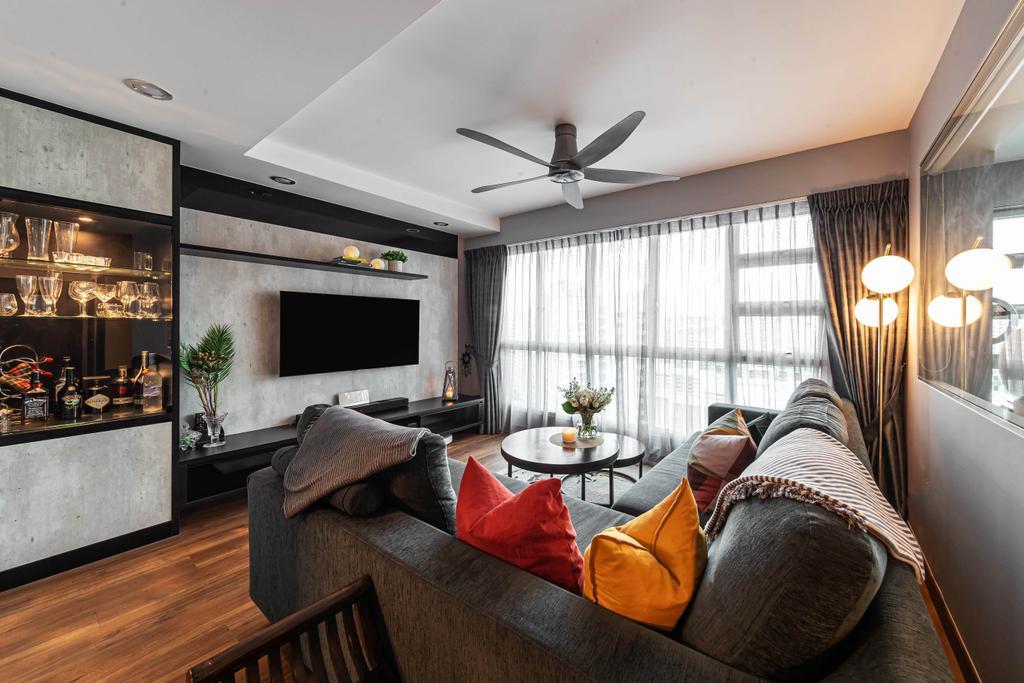 Contemporary, HDB, Living Room, Edgefield Plains, Interior Designer, Swiss Interior Design