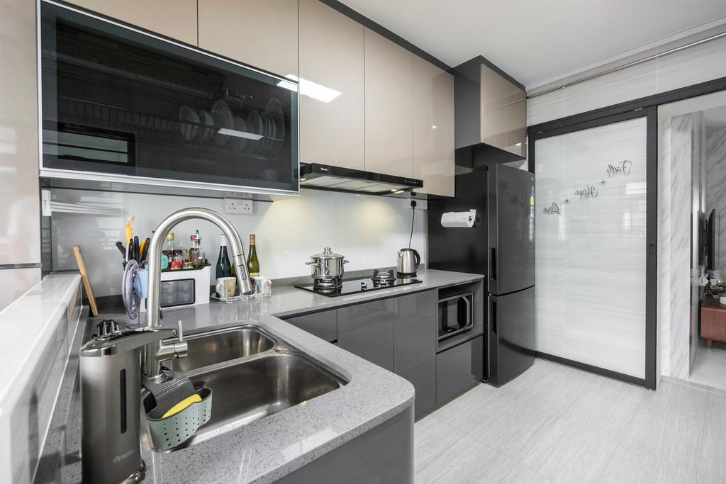 Modern, HDB, Kitchen, Kim Tian Road, Interior Designer, Flo Design