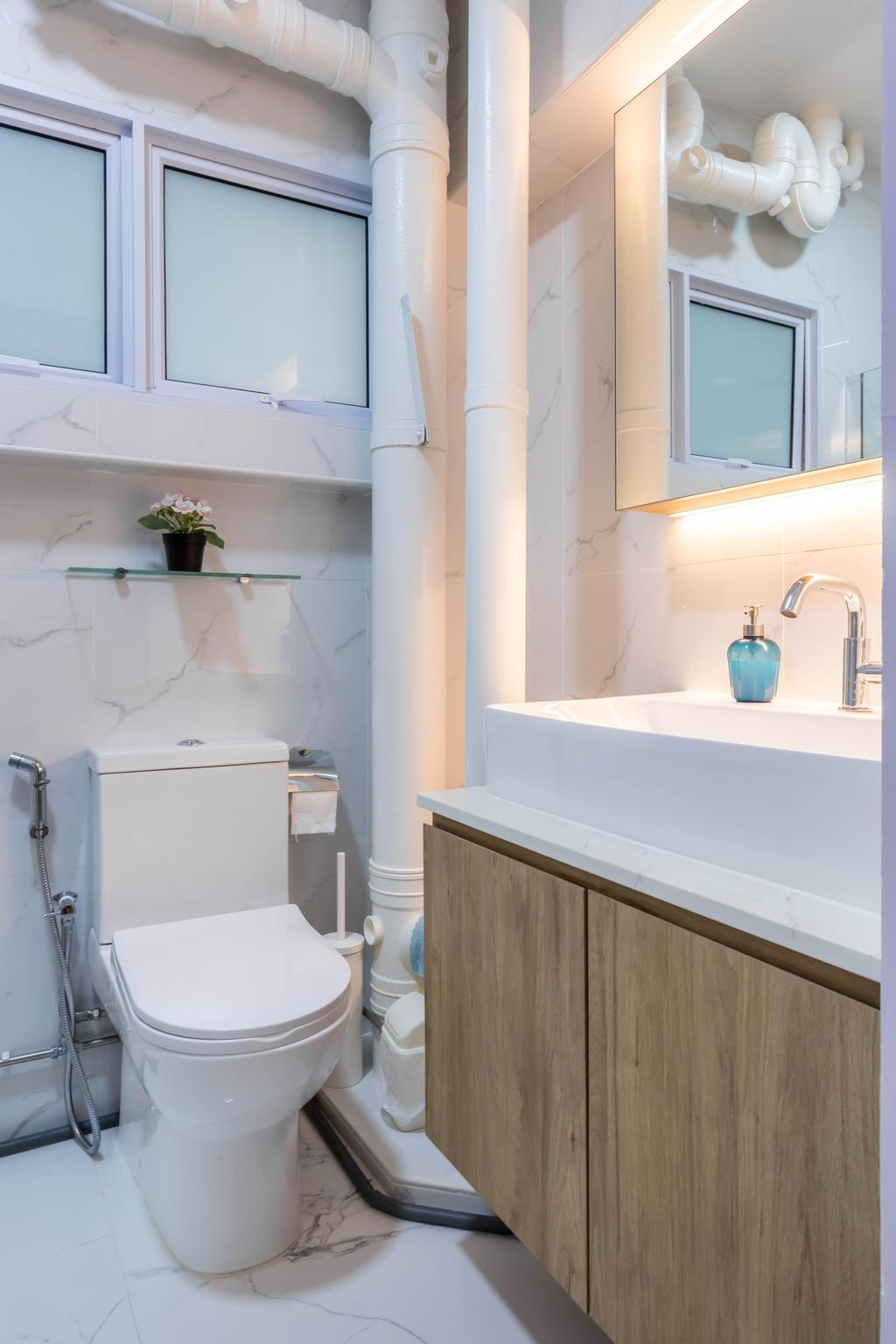 Modern, HDB, Bathroom, Queen's Close, Interior Designer, Sozo Concept Studio, Scandinavian