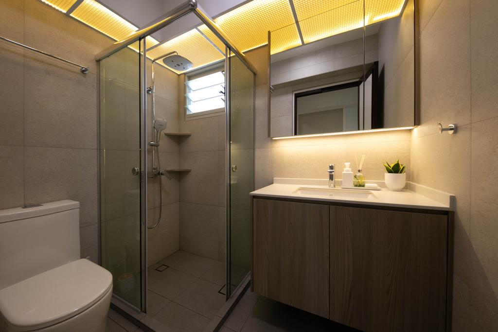 Modern, HDB, Bathroom, Punggol Drive, Interior Designer, Space Atelier, Contemporary