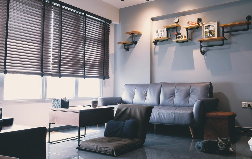 Industrial, HDB, Living Room, Sembawang Crescent, Interior Designer, Le Interior Affairs, Contemporary