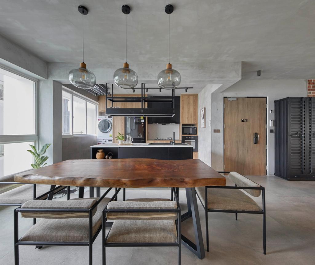 Industrial, HDB, Dining Room, Punggol Sapphire, Interior Designer, The Interior Lab, Contemporary