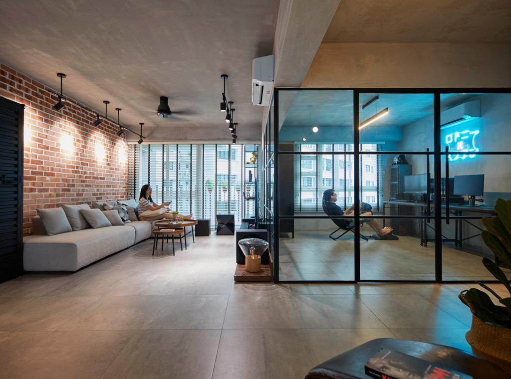 Industrial, HDB, Living Room, Punggol Sapphire, Interior Designer, The Interior Lab, Contemporary