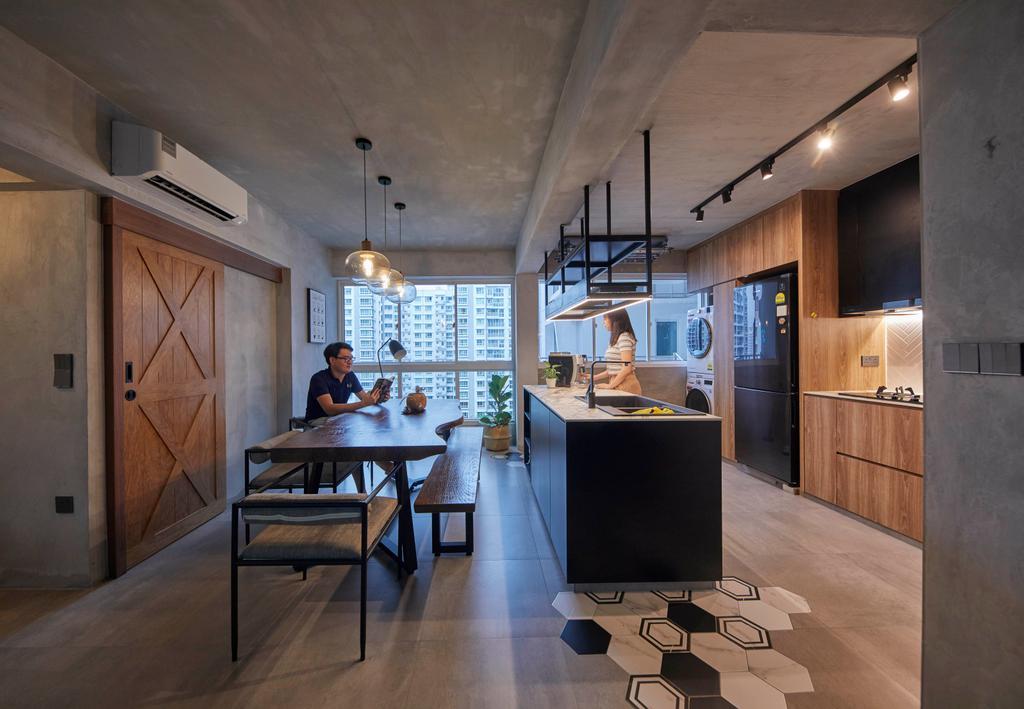 Industrial, HDB, Kitchen, Punggol Sapphire, Interior Designer, The Interior Lab, Contemporary