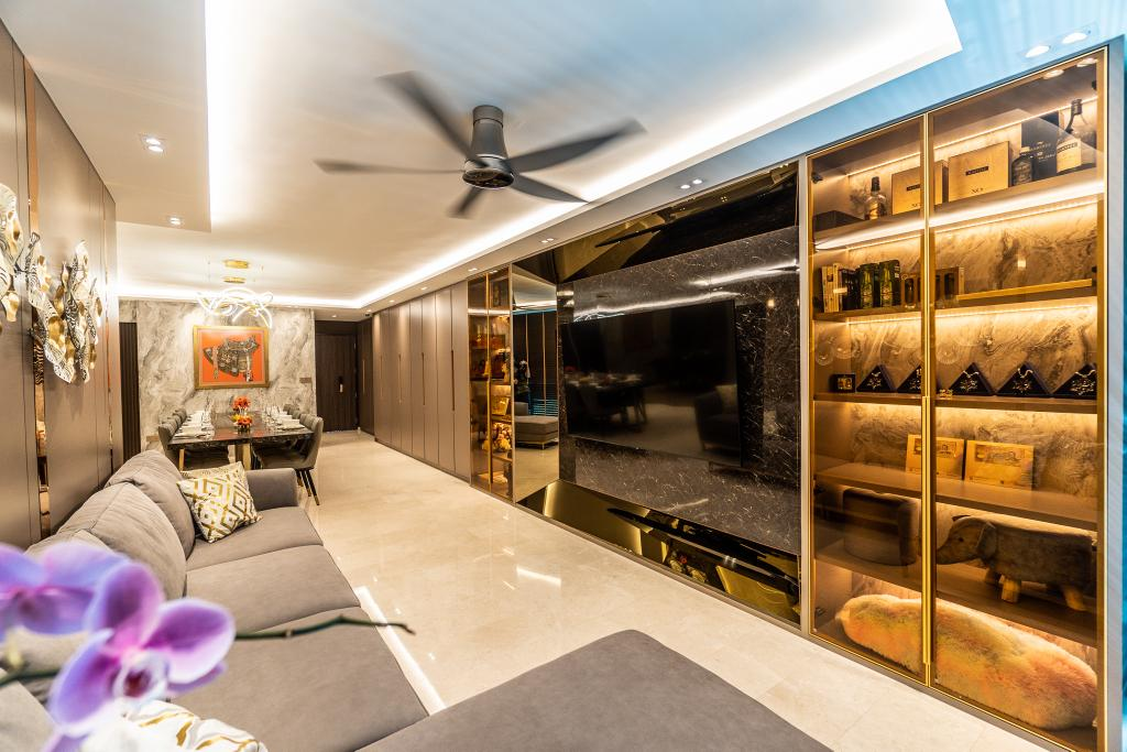 Modern, HDB, Living Room, Punggol Central, Interior Designer, Absolook Interior Design