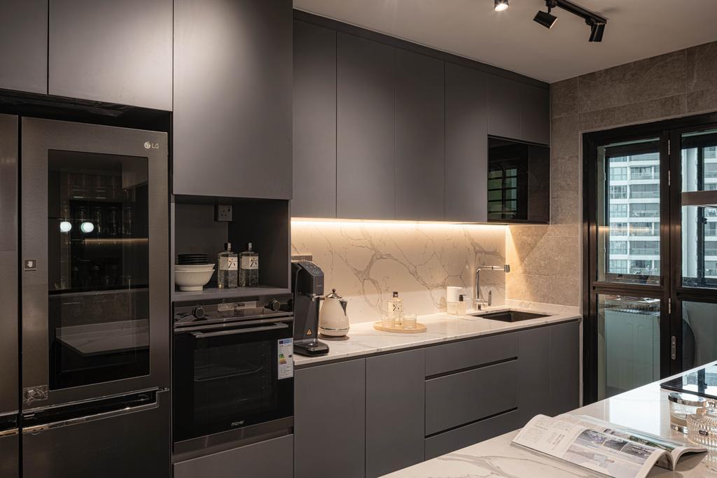 Modern, HDB, Kitchen, Punggol Way, Interior Designer, Absolook Interior Design, Contemporary