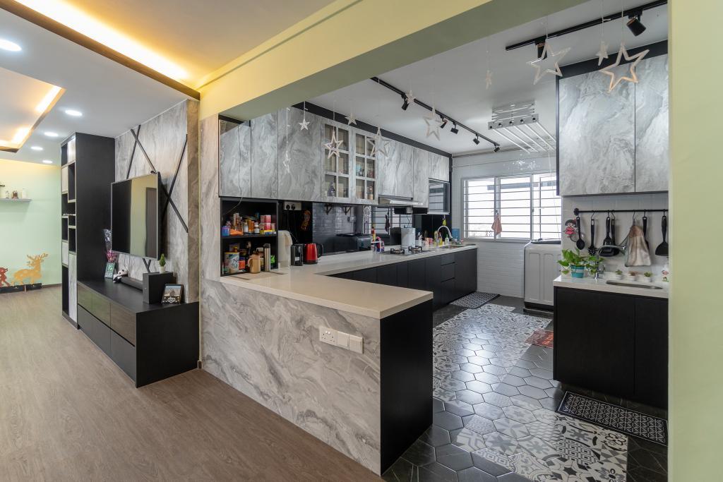 Modern, HDB, Kitchen, Tampines Street 43, Interior Designer, Absolook Interior Design, Industrial