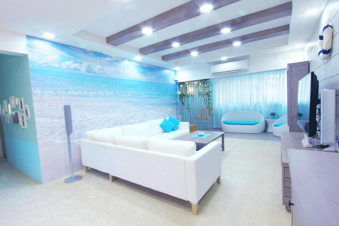 Lorong Ah Soo, Icon Interior Design, Contemporary, Living Room, HDB, Carpet, Carpeted Flooring, Wallpaper, Seaside, Sofa, Chair, Coffee Table, Table, Ceiling Beams, False Ceiling, Blue, White, Balcony, Corridor