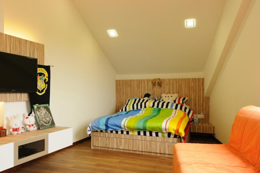Butterfly Avenue, Icon Interior Design, Traditional, Bedroom, Landed, Kids, Kids Room, Parquet, Slanted Ceiling, Tv Console, Wood, Laminate, Wood Laminate, Sofa, Chair, Parquet Wall, Night Stand, Side Table, Table, Mounted Table, Bed, Furniture, Indoors, Interior Design, Room, Flooring