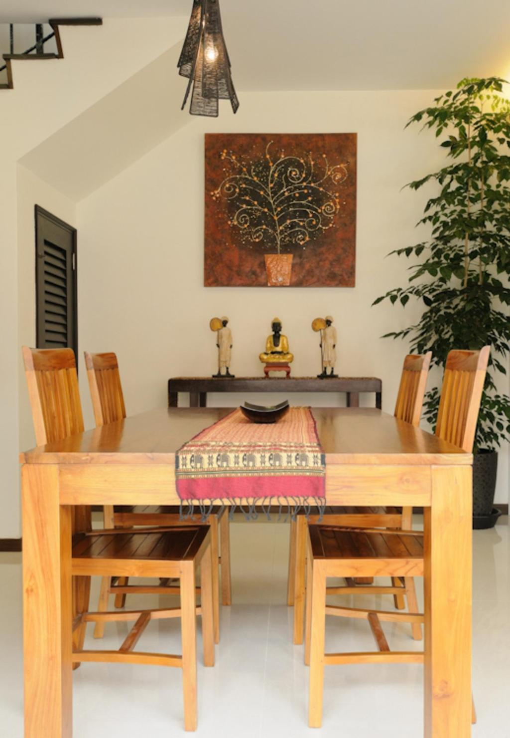 Traditional, Landed, Dining Room, Butterfly Avenue, Interior Designer, Icon Interior Design, Hanging Light, Pendant Light, Dining Table, Table, Chair, Display Unit, Sculpture, Painting, Plants, Woodwork, Wood Laminate, Wood, Laminate, Flora, Jar, Plant, Potted Plant, Pottery, Vase, Woven, Altar, Architecture, Building, Furniture, Indoors, Interior Design, Room