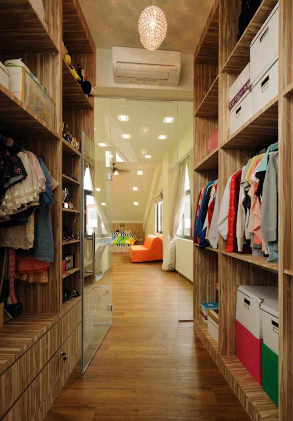 Traditional, Landed, Bedroom, Butterfly Avenue, Interior Designer, Icon Interior Design, Walk In Wardobe, Parquet, Shelf, Shelves, Storage, Wood, Laminate, Wood Laminate, Hanging Light, Pendant Light