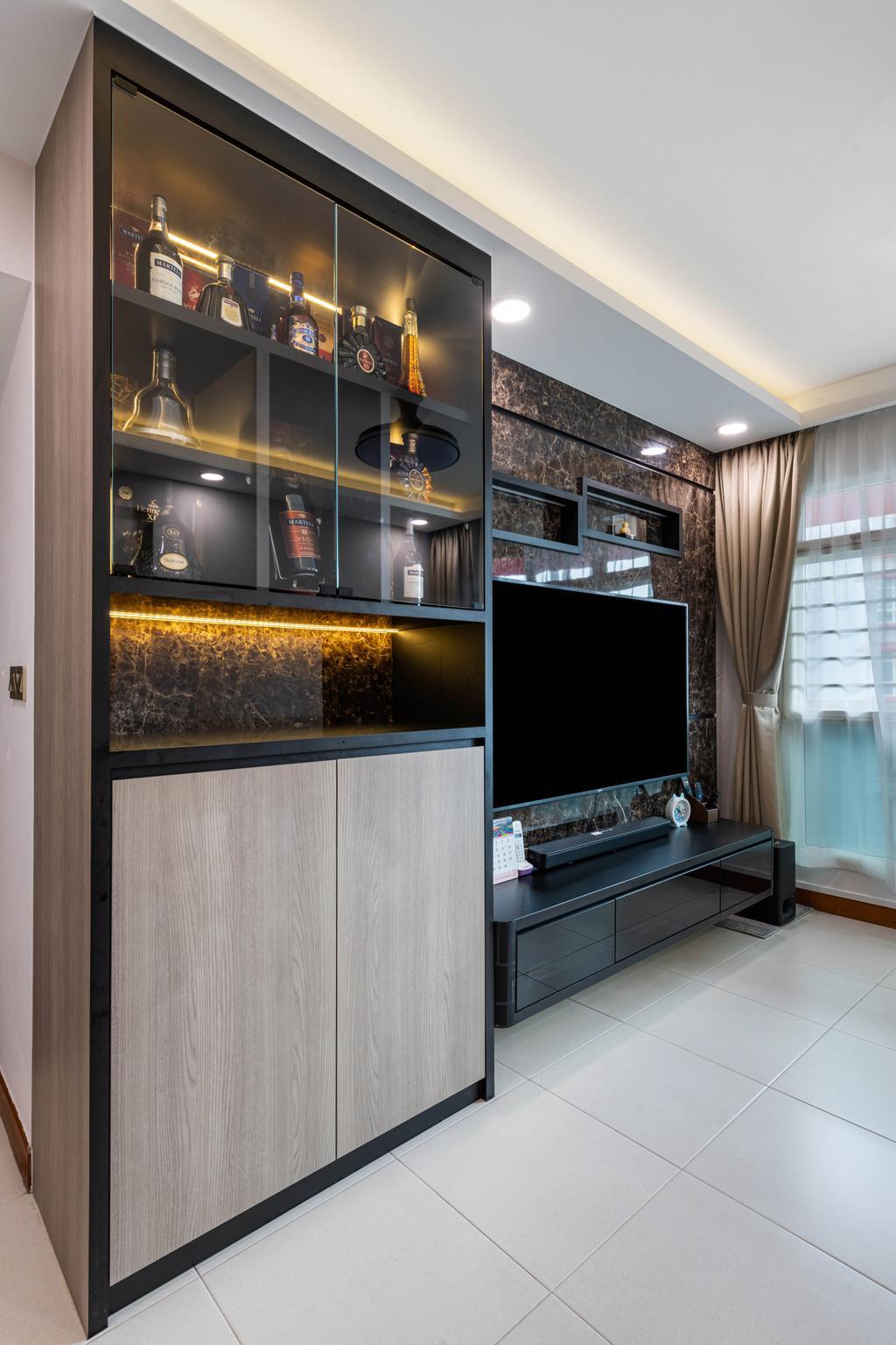 Modern, HDB, Living Room, Compassvale Lane, Interior Designer, Design Identity