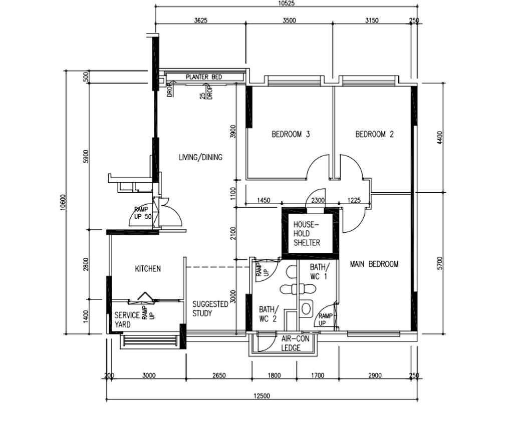 Industrial, HDB, Punggol Sapphire, Interior Designer, The Interior Lab, Contemporary, 5 Room Hdb Floorplan