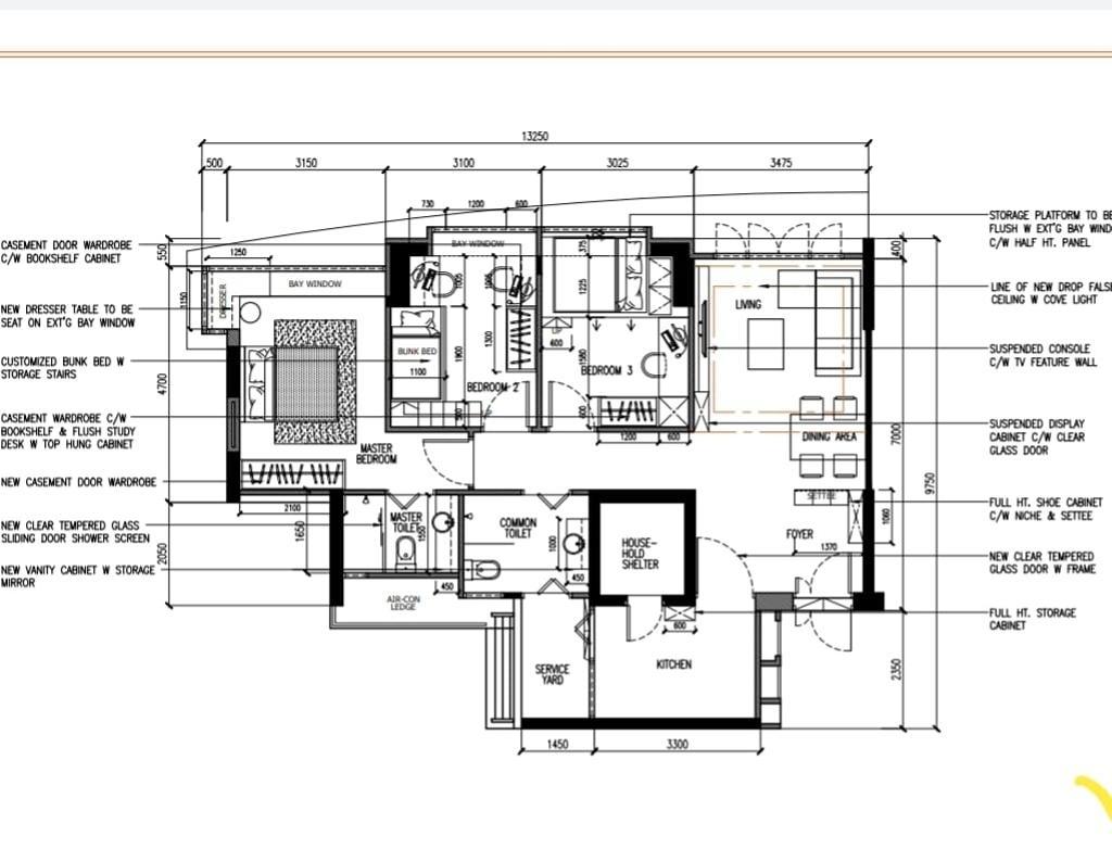 Modern, HDB, Compassvale Lane, Interior Designer, Design Identity, 4 Room Hdb Floorplan