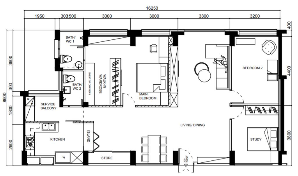 Modern, HDB, Jalan Damai, Interior Designer, Posh Home, Contemporary, 5 Room Hdb Floorplan