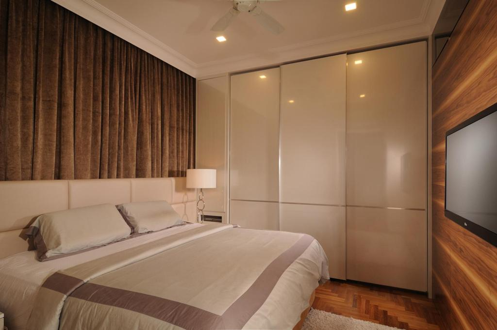 Modern, Condo, Bedroom, Tanjong Rhu, Interior Designer, The Orange Cube, Closet, Wardrobe, Curtains, Wood Laminate, Wood, Laminate, Parquet Wall, White, Bed, Furniture, Indoors, Room