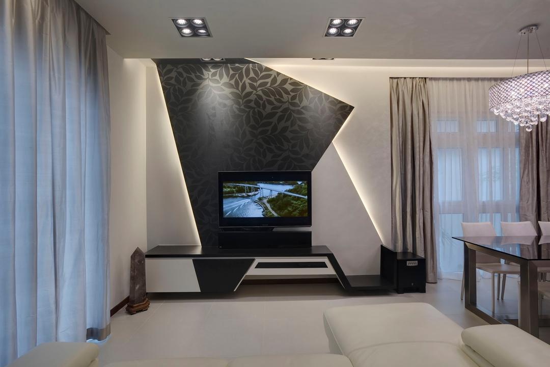 Springleaf Crescent, The Design Practice, Modern, Living Room, Condo, Feature Wall, Tv Console, White, Nature, Lighitng, Hanging Light, Pendant Light, Curtains, Concealed Lighting, Recessed Lighting, Indented Lighting, Indoors, Interior Design, Dining Table, Furniture, Table, Room