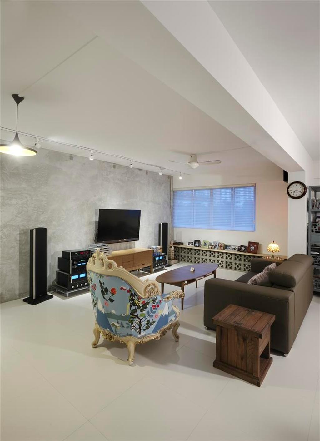 Eclectic, HDB, Living Room, Ghim Moh, Interior Designer, The Design Practice, Cement Wall, Coffee Table, Table, Sofa, Chair, Side Table, Woodwork, White, Ceiling Fan, Track Lighting, Hanging Light, Lighting, Display Shelf, Speakers, Tv Console, Couch, Furniture, Indoors, Room