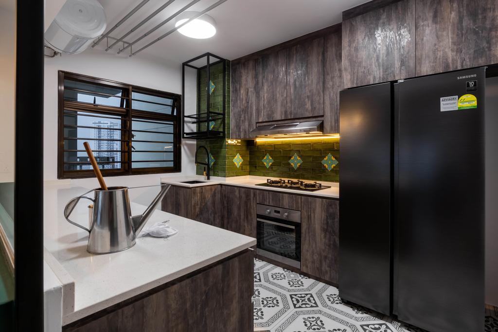 Retro, HDB, Kitchen, Tanglin Halt, Interior Designer, Inizio Atelier, Contemporary