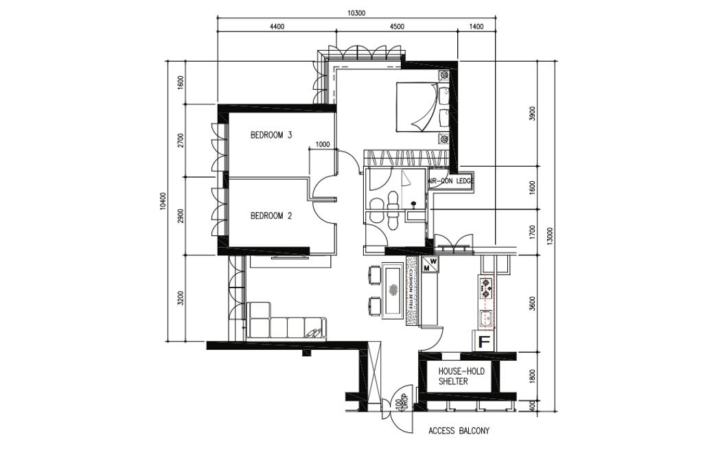 Retro, HDB, Tanglin Halt, Interior Designer, Inizio Atelier, Contemporary, 4 Room Hdb Floorplan