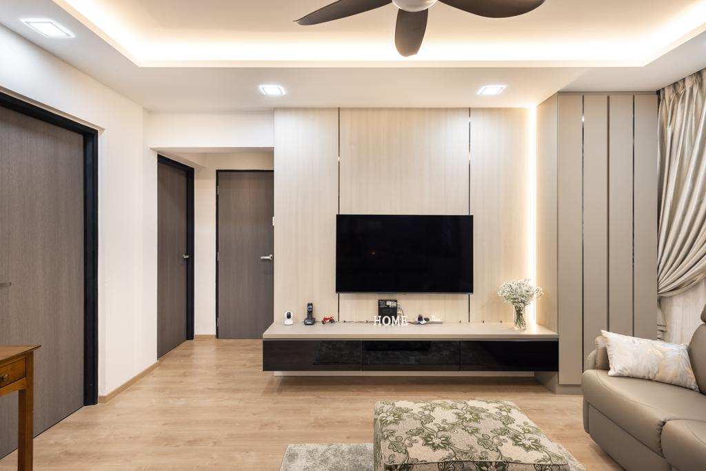 Contemporary, HDB, Living Room, Tampines Street 84, Interior Designer, U-Home Interior Design