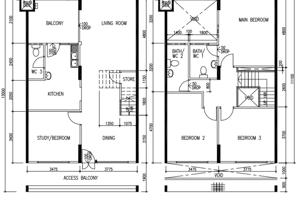Tampines Avenue 5, Fifth Avenue Interior, Modern, Industrial, HDB, Executive Maisonette Floorplan