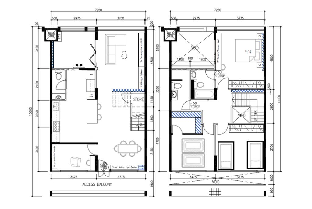 Modern, HDB, Tampines Avenue 5, Interior Designer, Fifth Avenue Interior, Industrial, Executive Maisonette Floorplan, Final Floorplan